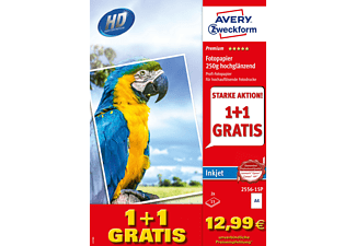 AVERY ZWECKFORM 2556-15P Premium, einseitig beschichtet, 250 g/m² Inkjet Fotopapiere 210 x 297 mm A4 Inhalt: 30 Blatt