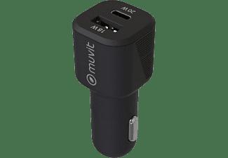Cargador USB para coche - Muvit MCDCC0010, USB-A y USB-C, Universal, 20W, Negro