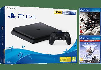 Consola - Sony PS4 Slim, 500 GB, Negro + Ghost of Tsushima + Horizon Zero Dawn Complete Edition