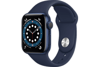 Apple Watch Series 6, GPS, 40 mm, Caja de aluminio en azul, Correa deportiva azul marino intenso