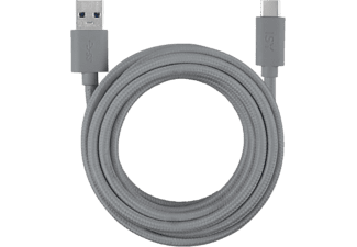 Cable USB - ISY IFC-1800-GY-C, USB-C a USB-A, Universal, 1.80 m, Gris