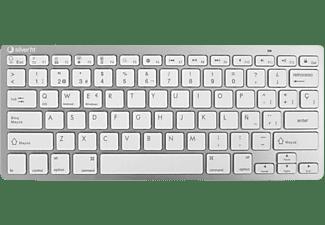 Teclado inalámbrico - Silver HT, Bluetooth, Diseño QWERTY, Hasta 10 m, 78 teclas, Blanco