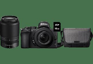 NIKON Z 50 Systemkamera mit Z DX 16-50mm VR, Z DX 50-250mm VR, Tasche und 16GB Speicherkarte
