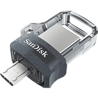 Memoria USB 32 GB - SanDisk Ultra Dual Drive m3.0, Micro USB y USB 3.0, 130 MB/s, Con Memory Zone, OTG, Gris