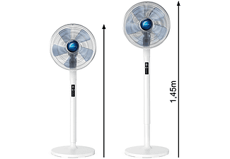 Ventilador de pie - Rowenta VU5870F0, 70 W, 1.45m, 80 m³/min, 35 dB, 5 Velocidades, Altura ajustable, Blanco