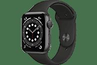 Apple Watch Series 6, GPS, 40 mm, Caja de aluminio en gris espacial, Correa deportiva negra