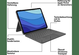 LOGITECH Combo Touch für iPad Pro 11 Zoll (1., 2. und 3. Generation) Tastatur-Case Oxford Grey