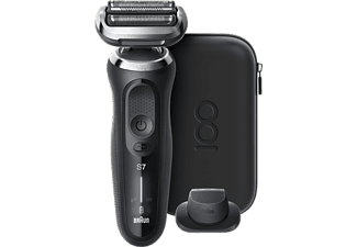 Afeitadora - Braun Series 7 Shaver MBS7, Edición Especial, Sistema EasyClick, 50 min, Negro + Funda para viaje