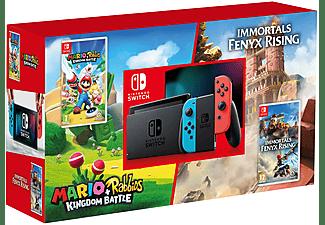 Consola - Nintendo Switch, Joy-Con, Azul y Rojo + Mario & Rabbids Kingdom Battle + Immortals Fenyx Rising