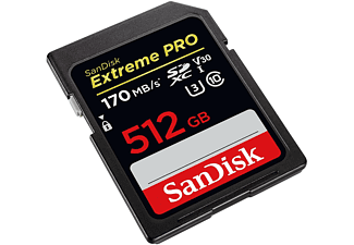 Tarjeta SDXC - SanDisk Extreme PRO, 512 GB, 170 MB/s, UHS-I, U3, V30, Clase 10, 4K UHD y FHD, Negro