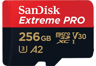Tarjeta Micro SDXC - SanDisk Extreme PRO, 256 GB, 170 MB/s, UHS-I, U3, V30, Clase 10, A2, 4K UHD, Multicolor