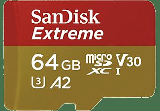 Tarjeta Micro SDXC - SanDisk Extreme, 64 GB, 160 MB/s, UHS-I, U3, V30, A2, Clase 10, Apta Drones, Multicolor