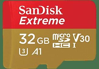 Tarjeta Micro SDHC - SanDisk Extreme, 32 GB, 100 MB/s, UHS-I, U3, V30, A1, Clase 10, Apta Drones, Multicolor
