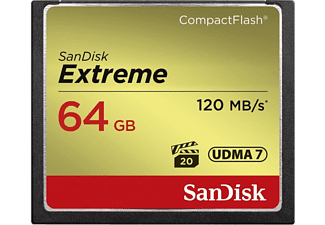 Tarjeta Compact Flash - SanDisk Extreme, 64 GB, 120 MB/s, VPG-20, UDMA 7, Full HD Video, Multicolor
