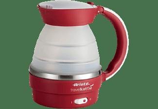 Hervidor de agua - Ariete 2862, 750 W, 0.8 l, Asa plegable, Cuerpo de silicona, Rojo