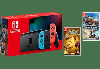 Consola - Nintendo Switch, Joy-Con, Azul y Rojo + Rayman Legends: Definitive Edition + Immortals Fenyx Rising