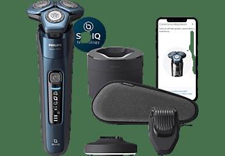 Afeitadora - Philips S7000 S7786/59, 60 min, Sensor de barba y movimiento, Tecnología SkinIQ, Wet & Dry, Azul