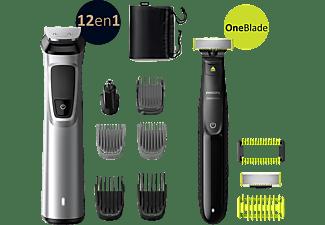 Afeitadora - Philips S9000 MG9710/90, barba, cortapelos y cuerpo, 12 accesorios en uno y maquinilla, 120 min