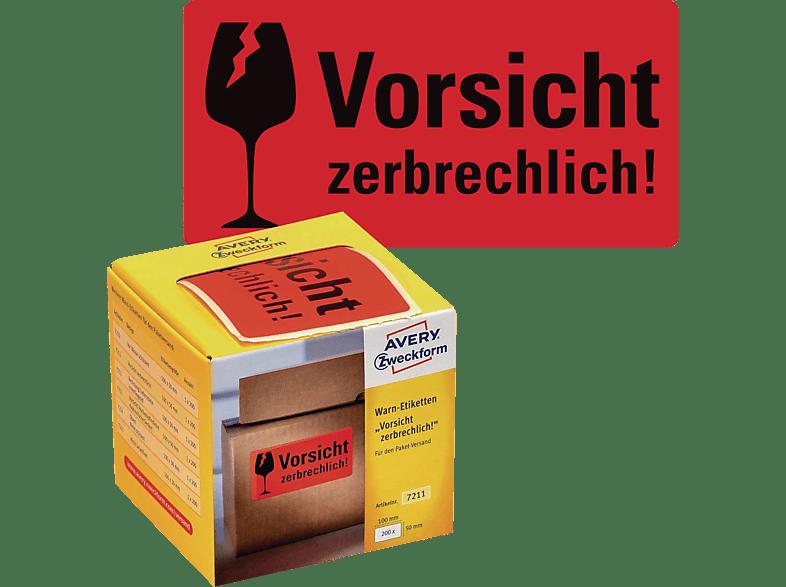 AVERY ZWECKFORM 7211 Warn Etiketten 100 x 50 mm Inhalt: 200 / 1 Rolle