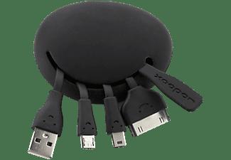 Adaptador - Xoopar Spider Cable, Todo en uno, Cable USB de 30 pines, USB-A, Micro USB, Mini USB, Negro