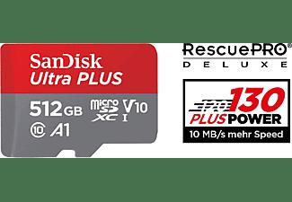 SANDISK Ultra PLUS, Micro-SDXC Speicherkarte, 512 GB, 130 MB/s