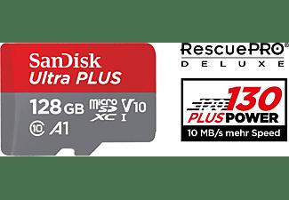 SANDISK Ultra PLUS, Micro-SDXC Speicherkarte, 128 GB, 130 MB/s