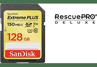 SANDISK Extreme PLUS, SDXC Speicherkarte, 128 GB, 150 MB/s