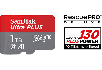 SANDISK Ultra PLUS, Micro-SDXC Speicherkarte, 1 TB, 130 MB/s
