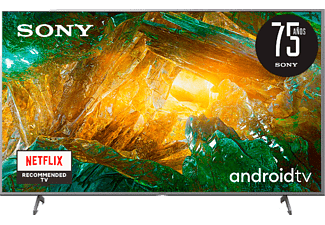 "TV LED 55"" - Sony KE55XH8077SAEP, UHD 4K, HDR, X1, SmartTV (AndroidTV), Asistente de Google, Triluminos, Plata"