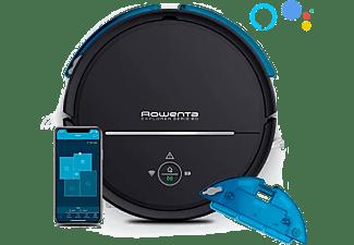 Robot aspirador - Rowenta RR7755WH, Serie 80 con mopa, 70 dB, Asistente de voz, Con Animal Turbo, WiFi, Negro