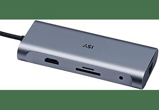 ISY Adapter IAD-1025 USB-C 6-in-1 Hub auf USB 3.0 Typ-A, HDMI 2.0 Gb-LAN, SD/MicroSD, 3.5mm, PD, Silber