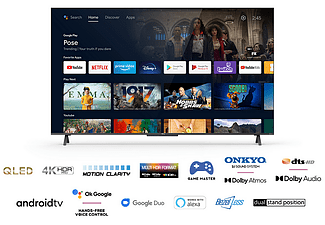 """TV QLED 55"""" - TCL 55C722, 4K UHD, AndroidTV, Motion Clarity ,SmartTV, Dolby Atmos,Google Assistant,Game master"""