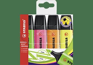 STABILO BOSS ORIGINAL, 4er Pack gelb, orange, grün, pink Textmarker, Mehrfarbig