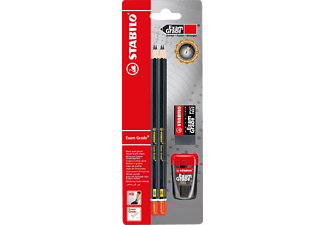 STABILO Exam Grade Bleistift, Härtegrad HB, 4er Pack, inklusive Spitzer und Radiergummi  Bleistift, Schwarz/Rot
