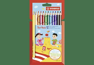 STABILO Dreikant-Buntstift, Trio dick, 12er Pack mit 12 verschiedenen Farben Buntstift, Bunt (12 Farben)