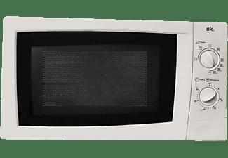 Microondas - OK OMW 22213 W, 800 W, 20 l, Grill, Función descongelar, 3 funciones grill, Blanco