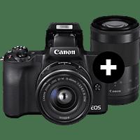 CANON EOS M50 Kit Systemkamera mit Objektiv 15-45 mm, 55-200 mm f/6.3, f/6.3, 7,5 cm Display Touchscreen, WLAN