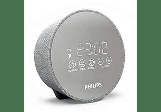 Radio despertador - Philips TADR402/12, FM, Sintonización digital, Carga USB, 5 tipos de alarma, Gris