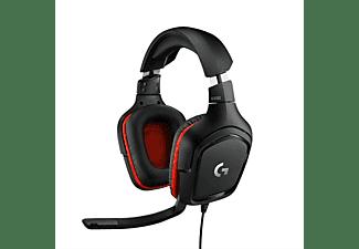 LOGITECH G332 Kabelgebundenes Gaming Headset, 3.5mm Klinke, Schwarz/Rot