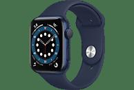 Apple Watch Series 6, GPS, 44 mm, Caja de aluminio en azul, Correa deportiva azul marino intenso