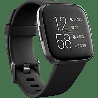 Reloj deportivo - Fitbit Versa 2, Negro carbón, GPS, Sumergible, 15 modos de ejercicio, Análisis del sueño