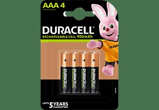 Pilas AAA recargables - Duracell AAA LR03 / LR3,  850mAh, Paquete de 4, Negro