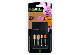 Pilas recargables con cargador - Duracell CEF14 (4 AA 1300), 4 Pilas, 1 unidad, Negro