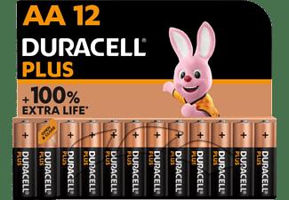 Pilas AA - Duracell PLUS MX1500 AA LR06 / LR6, Pilas alcalinas 1.5 V,  Paquete 12 unidades, Negro