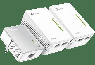 Adaptador PLC - TP-Link TL-WPA4220 TKIT, Pack de 3 unidades, 300 mbps, 2 puertos Ethernet 10/100Mbps, Blanco