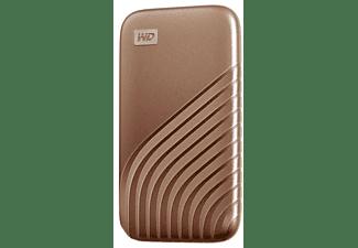 Disco duro externo 500 GB - WD My Passport SSD, Portátil, Lectura 1050 MB/s, USB 3.2, Para Windows y Mac, Oro