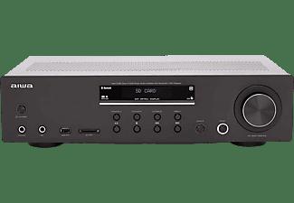 Amplificador estéreo - Aiwa AMU-120BTBK, 120 W, Bluetooth, Entrada AUX, EQ Bypass, Negro