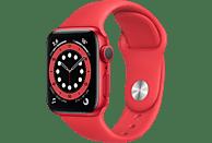 APPLE Watch Series 6 (GPS) 40mm Smartwatch Aluminium Fluorelastomer, 130 - 200 mm, Rot