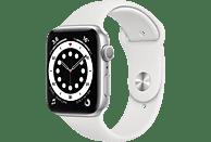 APPLE Watch Series 6 (GPS) 44mm Smartwatch Aluminium Fluorelastomer, 140 - 220 mm, Silber/Weiß