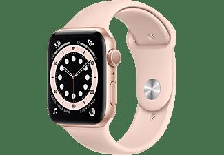 APPLE Watch Series 6 (GPS) 44mm Smartwatch Aluminium Fluorelastomer, 140 - 220 mm, Gold/Sandrosa